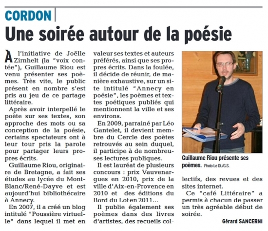 Cordon, Guillaume Riou, poésie, poète